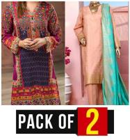 EID Sale - Pack of 2  Lawn Embroidery Dress & Block Print Banarsi  (MBP-01) & (DRL-418) Karachi Same Day Delivery Price in Pakistan