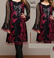 2-Pcs Sequins Embroidered Black Lawn Dress 2020 (Unsitched) Price in Pakistan