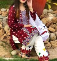 Lawn Ajrak Ari Work Heavy Embroidery Suit Chiffon Emb Dupatta (UnStitched) (DRL-500) Price in Pakistan
