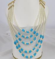 Gorgeous Blue Pearl MALA Set For Women (PS-357) Price in Pakistan