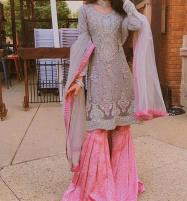 Bridal Net Embroidery suit With Net Embroidery Duppata (Unstitched) (CHI-359)  Price in Pakistan