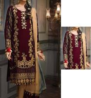 Designer Chiffon Bridal Embroidery Suit With Chiffon Embroidery Duppata (UnStitched) (CHI-354) Price in Pakistan