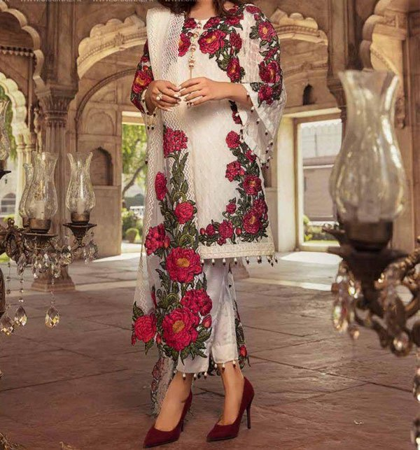 Party Wear Full Embroidered Chiffon Suit With Net Embroidered Dupatta (CHI-263) (Unstitched) Price in Pakistan