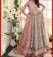 Handwork Heavy Embroidered Net Bridal Maxi Dress (Unstitched) (CHI-362) Price in Pakistan