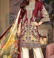 Heavy Neck Embroidered Lawn Dress 2020 with Chiffon Dupatta  UnStitched (DRL-571) Price in Pakistan