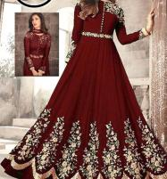 Indian Embroidered Chiffon Maxi Suit Unsitched (CHI-382) Price in Pakistan