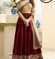 Indian Embroidered Maroon Chiffon Frock Dress Price in Pakistan