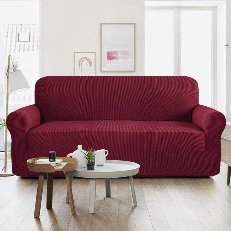 Jersey Sofa Covers Protector Slipcover - 5 Seater - Maroon Price in Pakistan