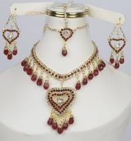 Maroon Heart Jewelry Sets Earing and Matha Patti  (PS-374)  Price in Pakistan
