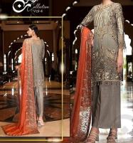 New Heavy Chiffon Embroidered  Suit With Chiffon Duppata unstitched (CHI-386) Price in Pakistan