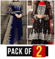 Pack Of 2 Deal Chiffon Embroidery Dress (Unstitched ) (CHI-142) & (CHI-33) Price in Pakistan