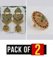 Pack OF 2 jewelry Deal For Girl Ring + Earing (JL-25) & (RH-11) Price in Pakistan