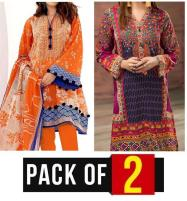 Pack OF 2 - Lawn Embroidered Suit With Chiffon Dupatta (DRL-324) & (DRL-418) Price in Pakistan