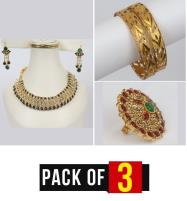 Pack OF 3 Deal Necklace With Earring, Bangles & Ring (PS-232), (BH-40) &  (RH-11) Price in Pakistan