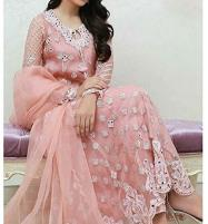 Peach Pink Organza Dress (UnStitched) (CHI-351) Price in Pakistan
