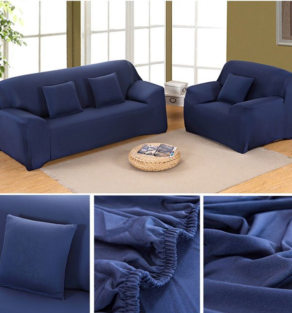 Stretch Fitted Sofa Cover - 7 Seater (3 + 2 + 1 + 1 Seater) Dark Blue Price in Pakistan