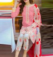 Trendy 2-Piece Heavy Embroidered Lawn Dress With Embroidered Trouser UnStitched (DRL-570) Price in Pakistan