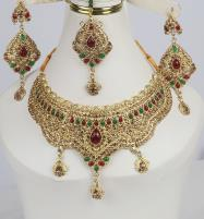 Luxury Multi-color Bridal Jewelry Sets Earing With Matha Pati (PS-371) Price in Pakistan