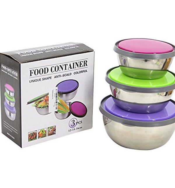 3 Pcs Stainless Steel Food Cantainer Colorful Fresh Keeping Box