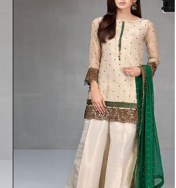 Embroidered Masoori Dress With Chiffon Dupatta (CHI-184)
