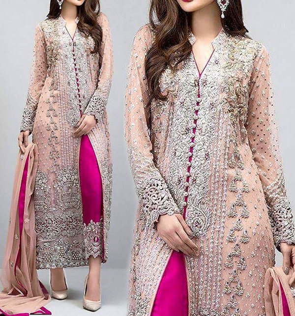 Heavy Embroidered Pink Chiffon Unstitched Dress (CHI-131)