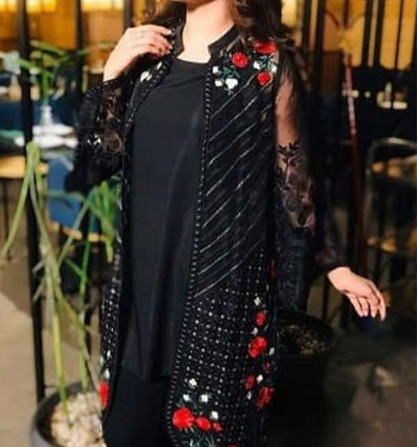 Black Full embroidery Net kurti (Unsicthed)