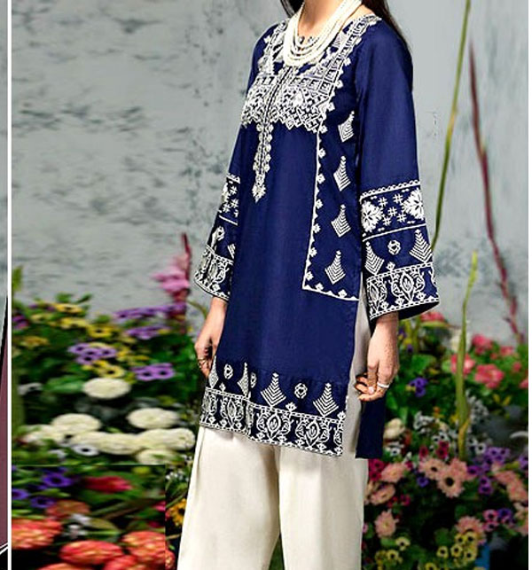 2-Pcs Embroidered Navy Blue Lawn Suit 2021  (DRL-488) (Unstitched)