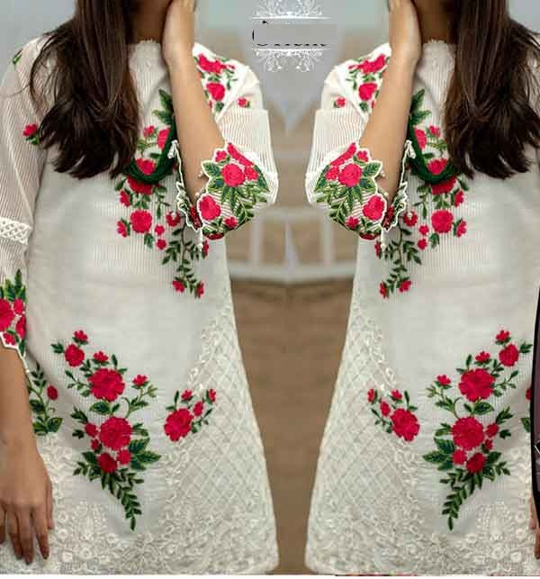 Lawn White Sequence Embroidered Dresses With Embroidered Trouser (Unstitched) (DRL-665)