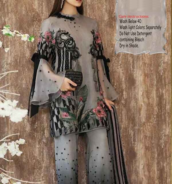 Lawn Sequence Embroidered Dress With Embroidered Trouser (Unsitched) (DRL-664)