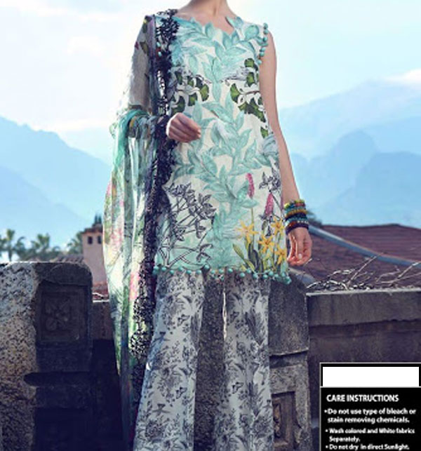 Heavy Front Embroidery Lawn Suit for Women - (DRL-497)