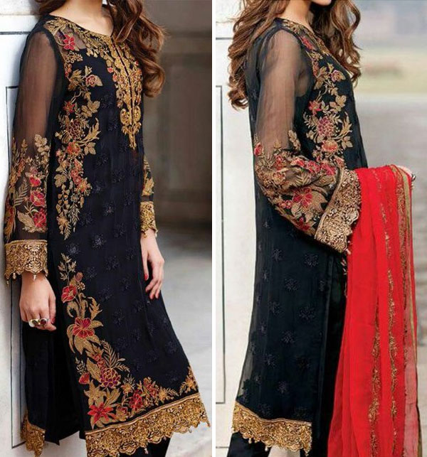 Black Chiffon Embroidered Suit (CHI-29)