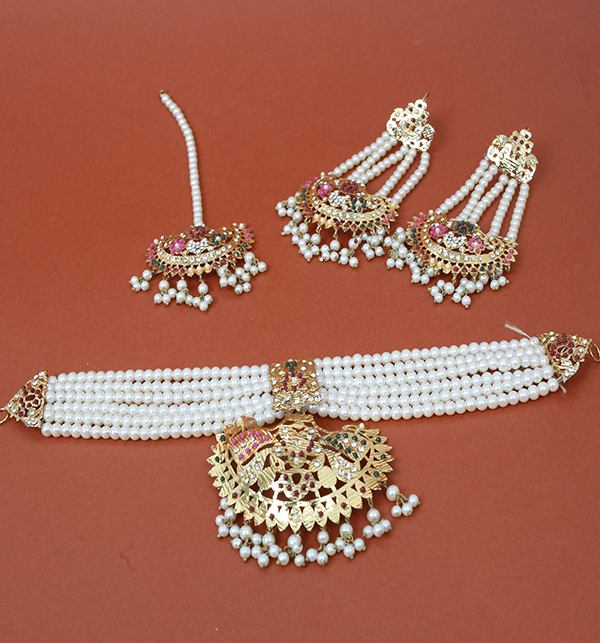 Beautiful Hyderabad 9Ratan Necklaces Set With Earring & Matta Patti (PS-224)