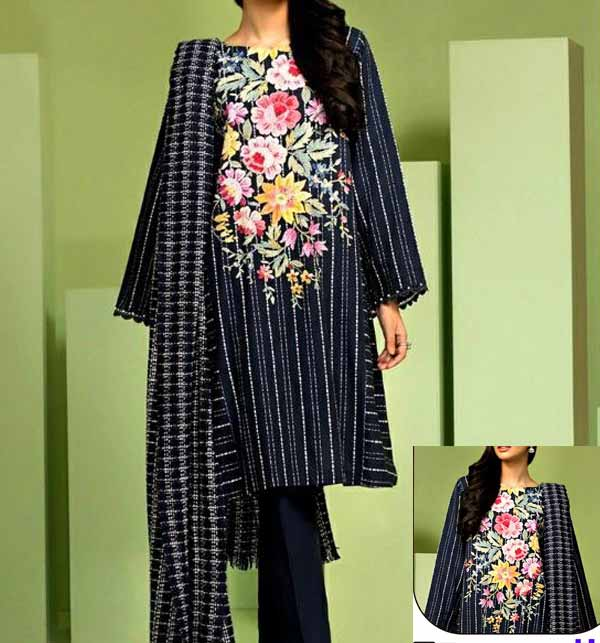 Black Lawn Heavy Embroidery Suit With Embroidered Trouser (Unsitched) (DRL-714)