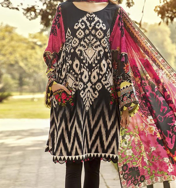 Linen Embroidered Dress with Linen Dupatta  Unstitched -  (LN-126)