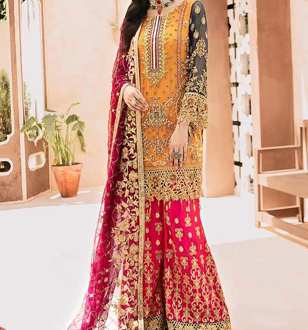 Bridal Chiffon Collection 4 Side Embroidery Dupatta Unstitched (CHI-391)