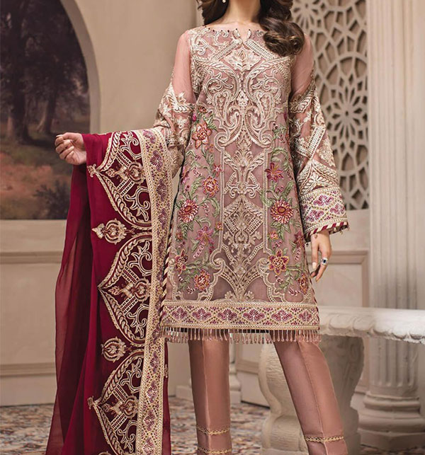 Chiffon Embroidery Suit With Chiffon Embroidery Duppata (Unstitched) (CHI-305)