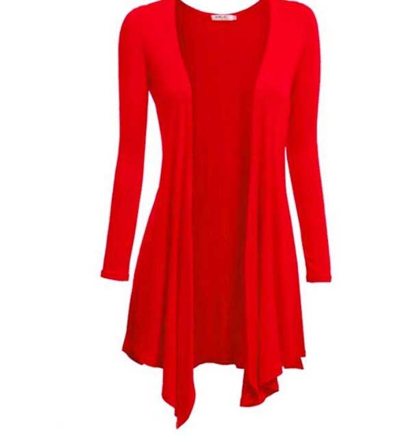 Jersey Cotton Shrug For Women Red