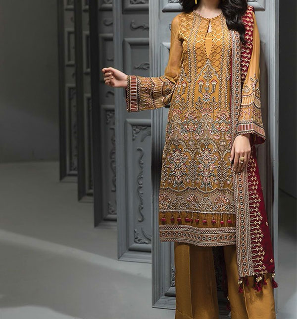 Designer Embroidered Chiffon Unstitched 3 Piece Suit 2020 (CHI-349)