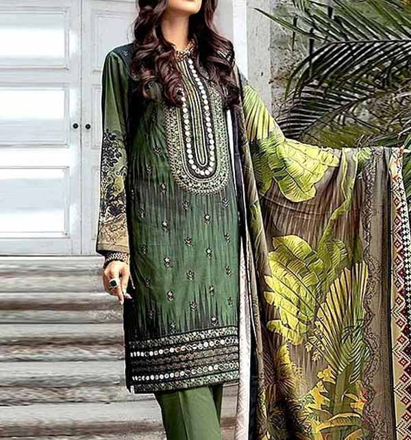 Elegant Embroidered Lawn Dress 2021 with Chiffon Dupatta unsitched (DRL-758)