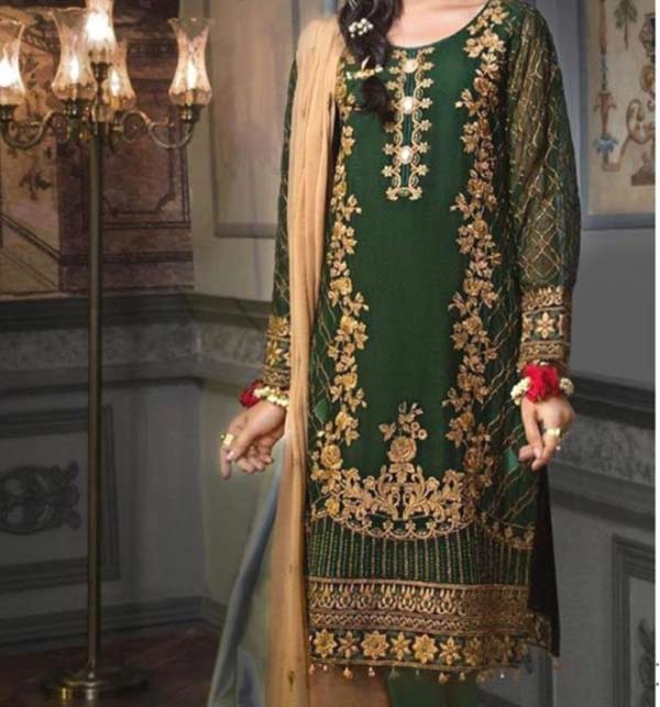 Elegant Linen Embroidered Dress with Wool Shawl Dupatta (LN-183)