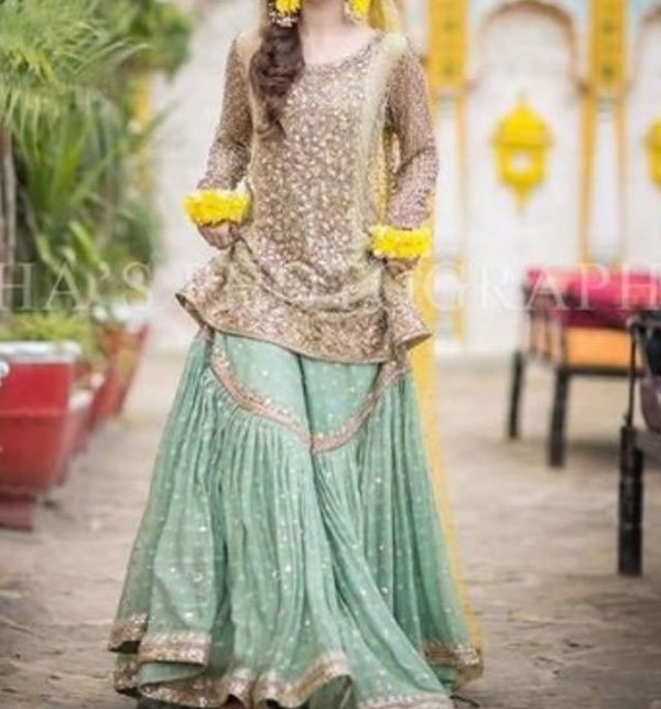 Bridal Embroidered Net Dress with Chiffon Dupatta (UnStitched) (CHI-348)