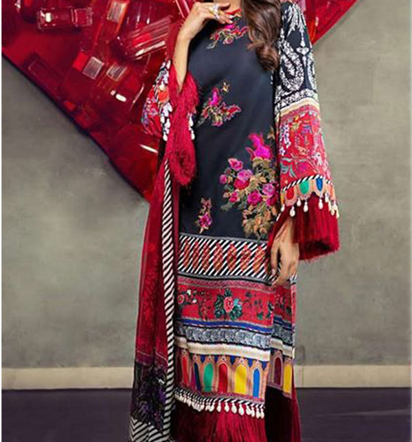 Heavy Embroidered Black Lawn Dress 2020 with Chiffon Dupatta (UnStitched) (DRL-594)