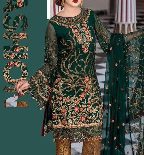 Embroidered Chiffon Suit with Jamawar Trouser UnStitched (CHI-172)