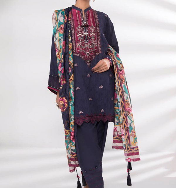 Embroidered Lawn Dress 2020 with Lawn Dupatta UnStitched (DRL-559)
