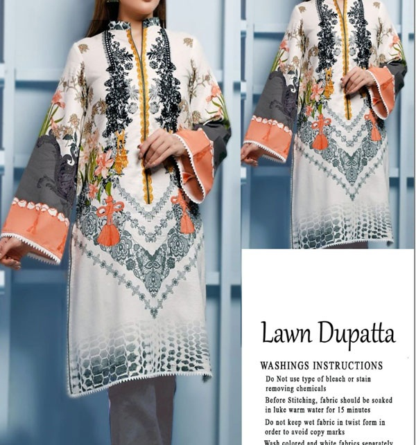 Embroidered Lawn Dress with Lawn Dupatta UnStitched (DRL-636)