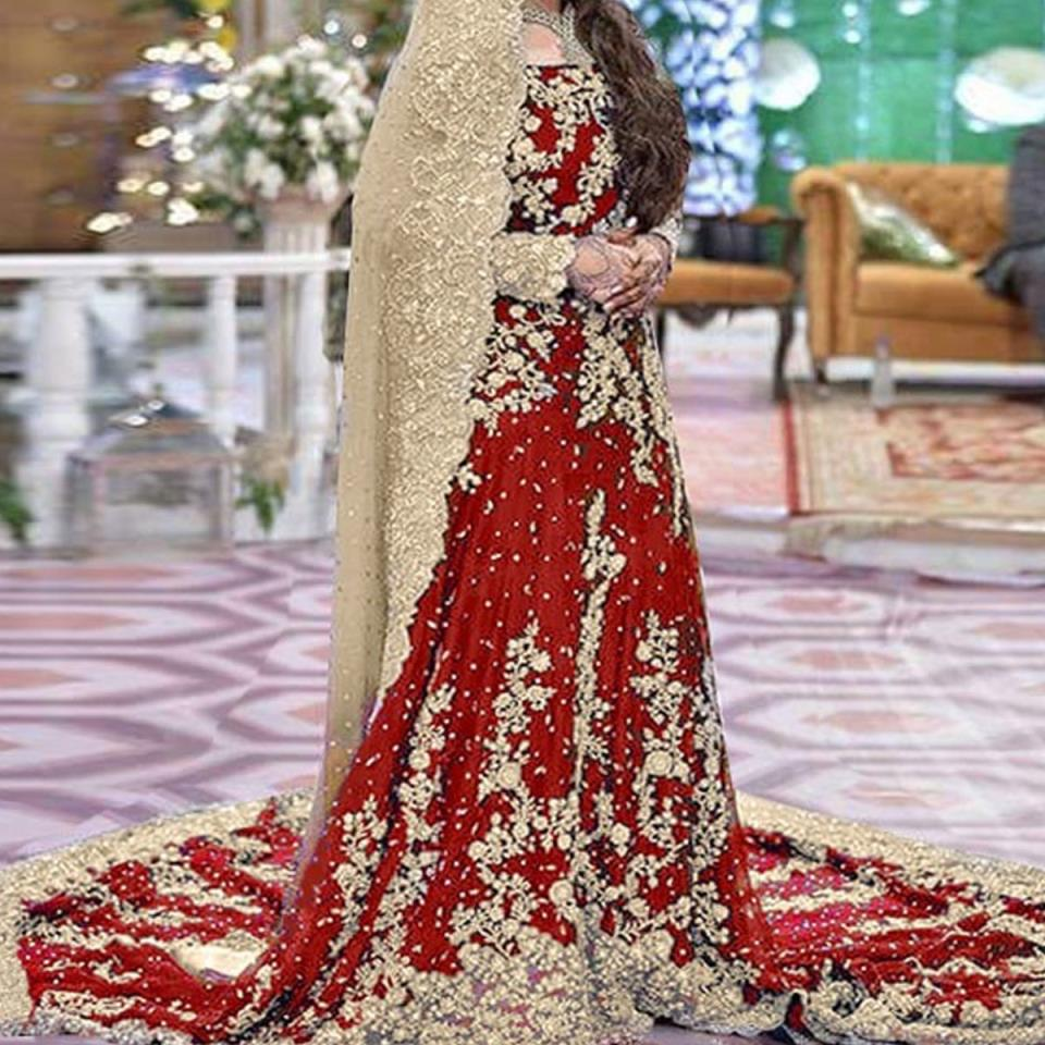Heavy Embroidered Red Chiffon Bridal Maxi Dress 2020-2021 - (CHI-329)