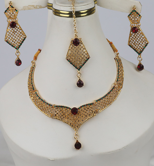 Stylish Golden Artificial Jewellery Sets Multi Stone Work (PS-370)