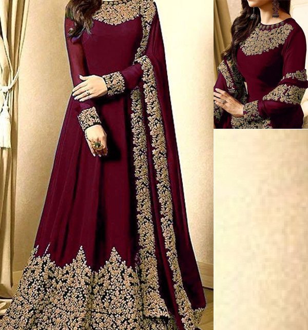 Chiffon Embroidered Maroon Maxi (CHI-250) (Unstitched)