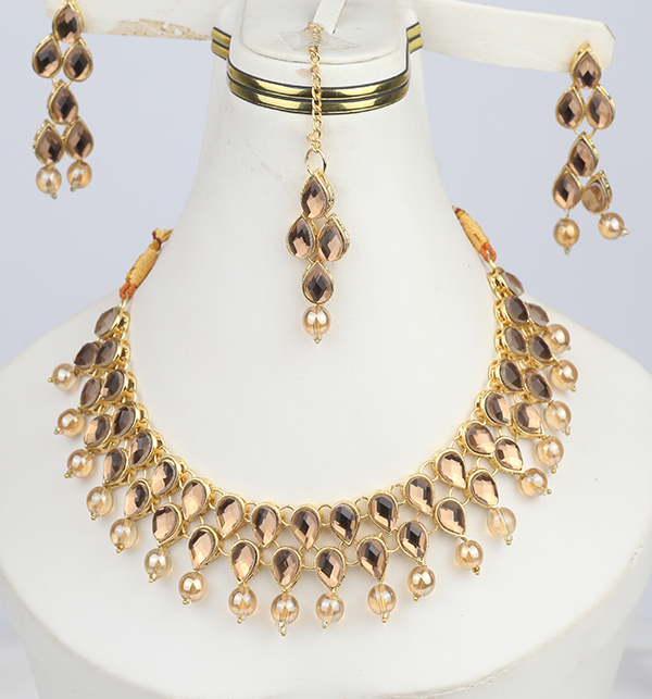 Jewellery Set Pearl and Stone Work - (3 in 1) Necklace, Earrings & Maang-Tika (PS-292)