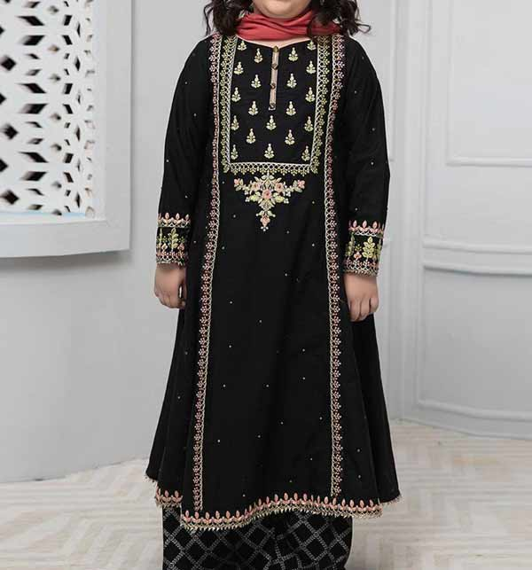 Black LINEN Embroidery Kids Suit Unstitched (KLN-03)